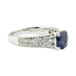 1.69 ctw Round Brilliant Blue Sapphire And Diamond Ring - 14KT White Gold