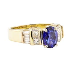 2.41 ctw Blue Sapphire And Diamond Ring - 14KT Yellow Gold