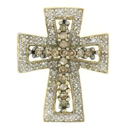 14k Two Tone Gold 1.00 ctw Champagne & White Diamond Petite Cross Slide Pendant
