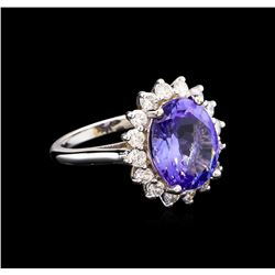 5.67 ctw Tanzanite and Diamond Ring - 14KT White Gold