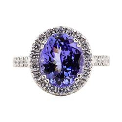 4.46 ctw Tanzanite and Diamond Ring - Platinum