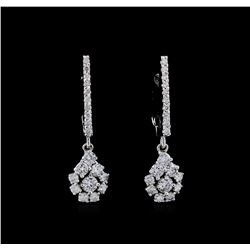 0.85 ctw Diamond Earrings - 14KT White Gold