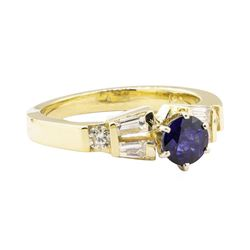 1.40 ctw Blue Sapphire And Diamond Ring - 14KT Yellow Gold