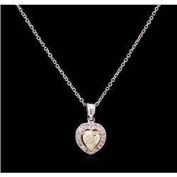 1.15 ctw Yellow Diamond Pendant With Chain - 14KT White Gold