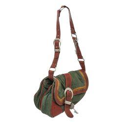 Christian Dior Green Denim Leather Gaucho Double Saddle Bag