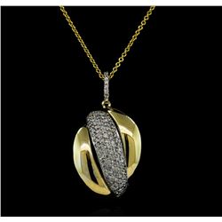 1.01 ctw Diamond Pendant With Chain - 14KT Yellow and White Gold