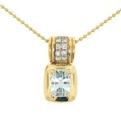 "14K Yellow Gold 2.25 ctw Emerald Cut RICH Aquamarine and Diamond Pendant w/ 16"""