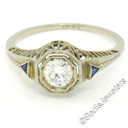 Antique Art Deco 18kt White Gold 0.46 ctw European Diamond Solitaire Filigree En