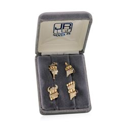 Sterling Silver and 14KT gold James Reid Indian Face Shirt Studs with Rubys