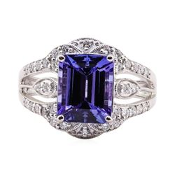 3.52 ctw Tanzanite and Diamond Ring - 14KT White Gold