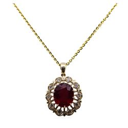 11.34 Ruby and Diamond Pendant With Chain - 14KT Yellow Gold