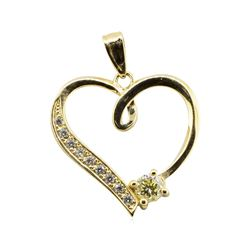 0.37 ctw Diamond Heart Shaped Pendant -14KT Yellow Gold