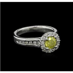 1.17 ctw Fancy Yellow Diamond Ring - 14KT White Gold