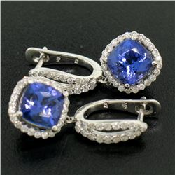 14k White Gold 4.15 ctw Cushion Tanzanite Dangle Earrings w/ Pave Diamond Halos