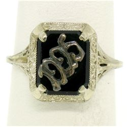 1925 14k White Gold Prong Set Black Onyx Filigree Dinner Ring