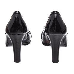 Fendi Black Patent Leather Peep Toe Buckle Heels 36.5
