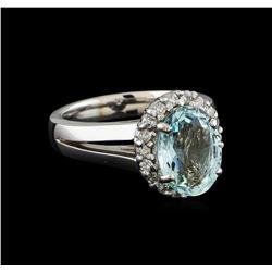 2.8 ctw Aquamarine and Diamond Ring - 14KT White Gold