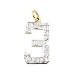 "2.04 ctw Diamond ""3"" Pendant - 14KT Yellow and White Gold"