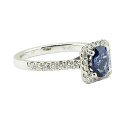 1.44 ctw Oval Brilliant Blue Sapphire And Diamond Ring - 18KT White Gold