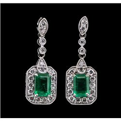 2.11 ctw Emerald and Diamond Earrings - 18KT White Gold