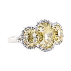 EGL USA Cert 8.66 ctw Fancy Yellow Diamond Ring - Platinum