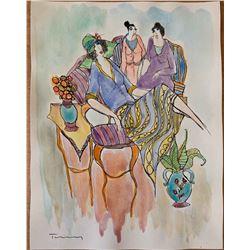 """Itzchak Tarkay """"Watercolor (Untitled Ref. #15)"""""""