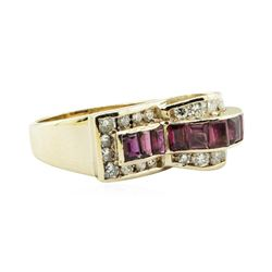 3.04 ctw Square Step Rubies And Diamond Ring - 14KT Yellow Gold