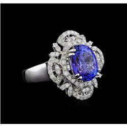 4.07 ctw Tanzanite and Diamond Ring - 14KT White Gold
