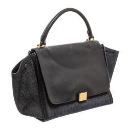Celine Denim Black Leather Medium Trapeze Shoulder Bag