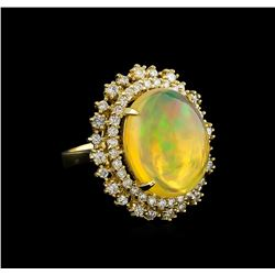 12.07 ctw Opal and Diamond Ring - 14KT Yellow Gold