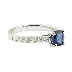 2.02 ctw Round Brilliant Blue Sapphire And Diamond Ring - 14KT White Gold