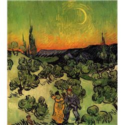 Van Gogh - Landscape With Couple Walking And Crescent Moon