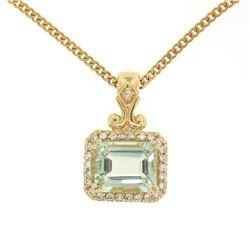 "14K Yellow Gold 3.77 ctw VS Diamond Green Amethyst Pendant w/ 20"" Curb Chain"