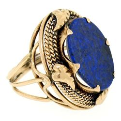 Antique 14kt Rose Gold Oval Lapis Ring w/ Twisted Wire and Leaf Halo
