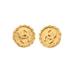 Chanel Vintage Gold Textured CC Logo Round Clip On Earrings