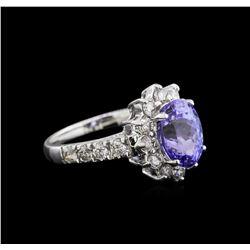 2.97 ctw Tanzanite and Diamond Ring - 14KT White Gold