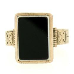 10K Rose Gold Bezel Set Uncarved Stone Solitaire Ring
