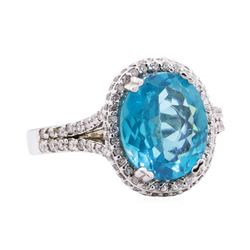 4.16 ctw Apatite And Diamond Ring - 14KT White Gold