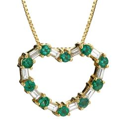 14k Yellow Gold 0.89CTW Emerald and Diamond Pendant, (VS2-SI1/G-H)
