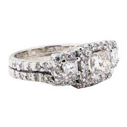 2.12 ctw Diamond Ring And Attached Band - 10KT White Gold