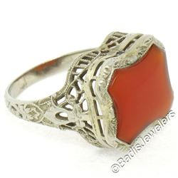 Art Deco Etched 14kt White Gold Custom Cut Carnelian Solitaire Filigree Ring