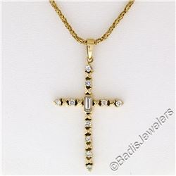 18kt Yellow Gold 0.40 ctw Round and Baguette Diamond Cross Pendant Necklace