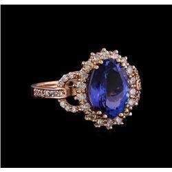 3.93 ctw Tanzanite and Diamond Ring - 14KT Rose Gold