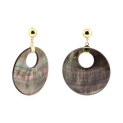 Black Mother of Pearl Coin Dangle Earrings - 14KT Yellow Gold