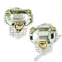 Judith Ripka Sterling Silver and 18kt Yellow Gold Prasiolite and Diamond Earring