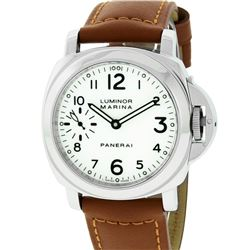 Panerai Mens Stainless Steel White Dial Luminor Marina 44mm Wristwatch With New