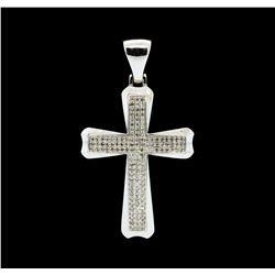 0.75 ctw Diamond Cross Pendant - 10KT White Gold