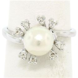 14K White Gold 7.5mm Cultured Pearl & 8 Single Cut Diamond Petite Cluster Ring
