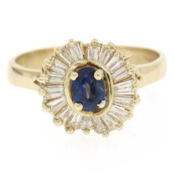 14kt Yellow Gold 1.00 ctw Sapphire Ring w/ Baguette Diamond Ballerina Halo Ring