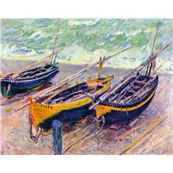Claude Monet - Three Fishing Boats in Eretrat